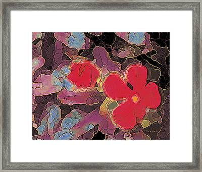 044 Cosmic Impatiens 6 With Blue Framed Print
