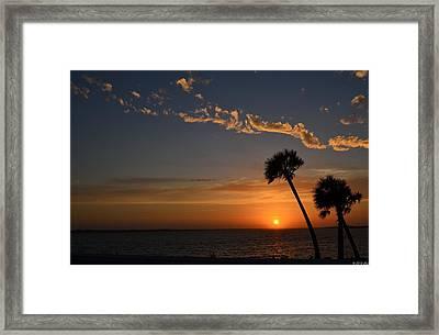 0502 Palms With Sunrise Colors On Santa Rosa Sound Framed Print by Jeff at JSJ Photography