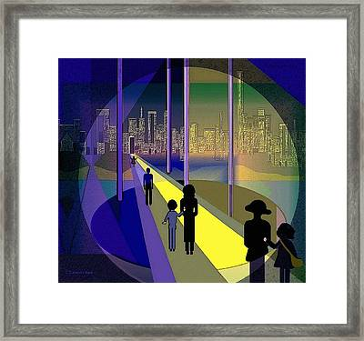 070 - Nightwalking To The Golden City    Framed Print by Irmgard Schoendorf Welch