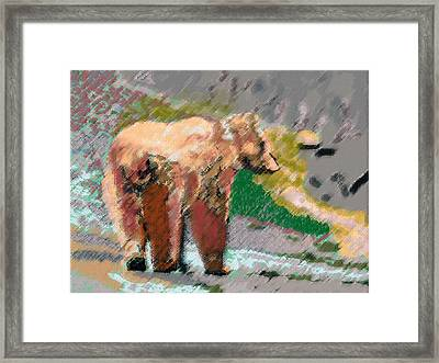 081914 Pastel Painting Grizzly Bear Framed Print
