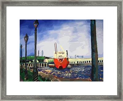 082014new Orleans Wharf Framed Print