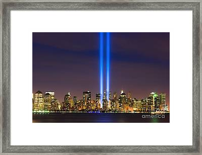 09/11 - Tribute In Light Framed Print by Henk Meijer Photography