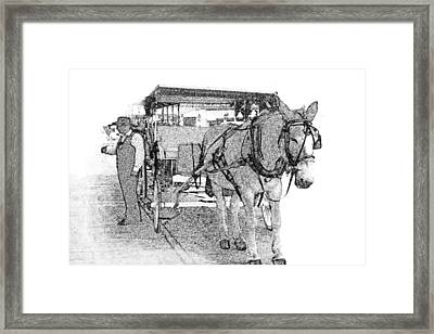 091614 Pen Drawing Carriages French Quarter Framed Print