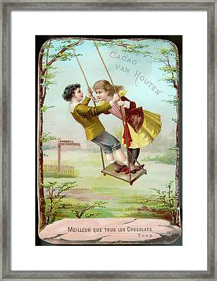 A Boy And A Girl Swing  Together Framed Print by Mary Evans Picture Library