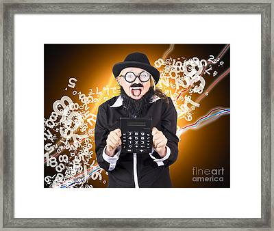 Businessman Showing Financial Investment Gain Framed Print by Jorgo Photography - Wall Art Gallery