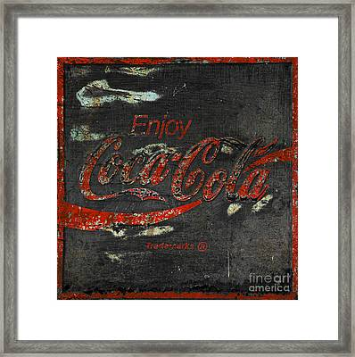 Coca Cola Sign Grungy  Framed Print