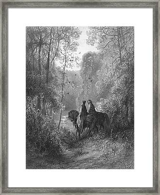 Guinevere And Lancelot 'the Dawn Framed Print