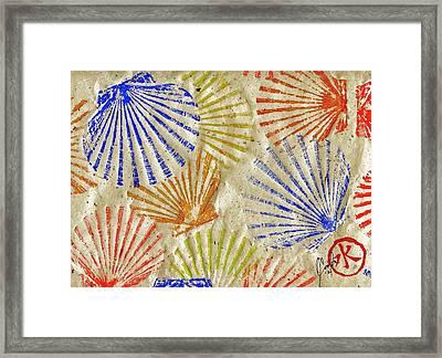 Gyotaku Scallops - Bivalvify - Seafood Melody Framed Print
