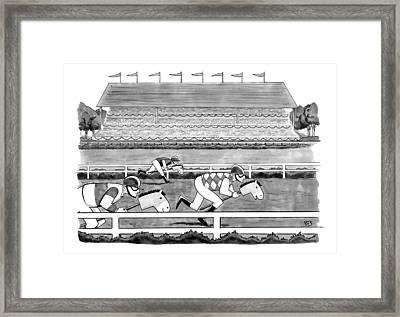 Men Race On Toy Horses Framed Print