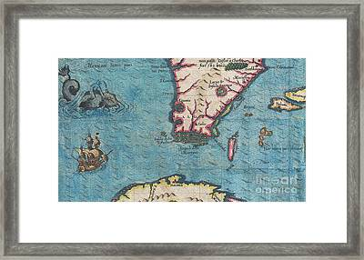 1591 De Bry And Le Moyne Map Of Florida And Cuba Framed Print
