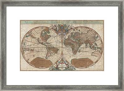 1691 Sanson Map Of The World On Hemisphere Projection Framed Print