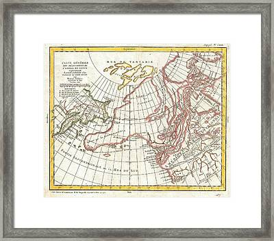 1772 Vaugondy  Diderot Map Of Alaska The Pacific Northwest And The Northwest Passage Framed Print