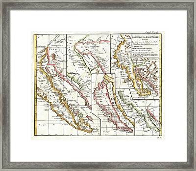 1772 Vaugondy  Diderot Map Of California In Five States California As Island Framed Print