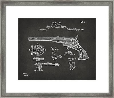 1839 Colt Fire Arm Patent Artwork - Gray Framed Print
