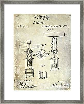 1862 Corkscrew Patent Drawing Framed Print by Jon Neidert