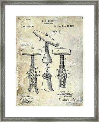 1883 Corkscrew Patent Drawing Framed Print by Jon Neidert