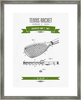 1887 Tennis Racket Patent Drawing - Retro Green Framed Print by Aged Pixel