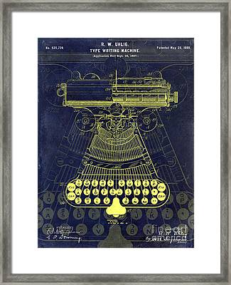 1899 Type Writer Patent Drawing Blue Framed Print