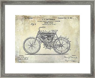 1901 Motorcycle Patent Drawing Framed Print