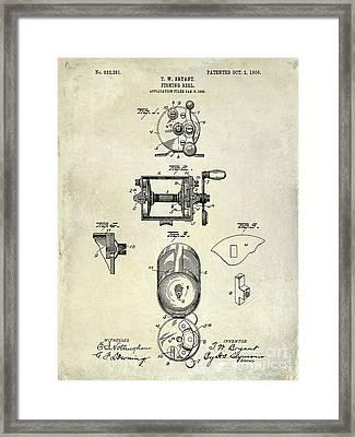 1906 Fishing Reel Patent Drawing Framed Print