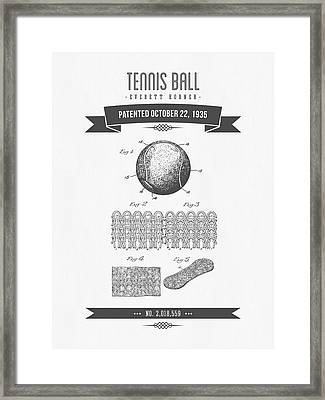 1907 Tennis Racket Patent Drawing - Retro Gray Framed Print by Aged Pixel