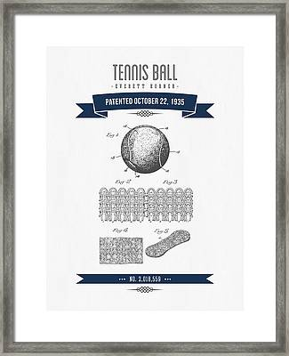 1907 Tennis Racket Patent Drawing - Retro Navy Blue Framed Print by Aged Pixel