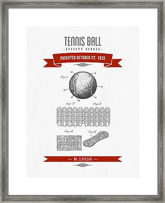 1907 Tennis Racket Patent Drawing - Retro Red Framed Print by Aged Pixel