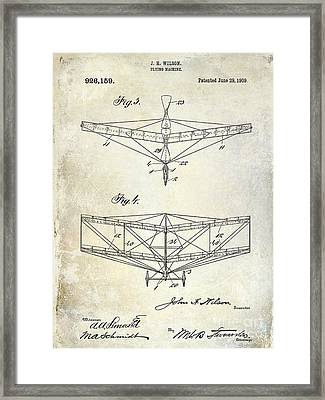 1909 Flying Machine Patent Drawing  Framed Print by Jon Neidert