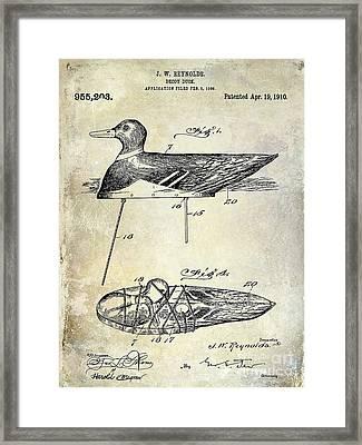 1910 Duck Decoy Patent Drawing Framed Print by Jon Neidert