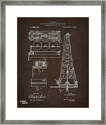 1916 Oil Drilling Rig Patent Artwork - Blueprint Framed Print