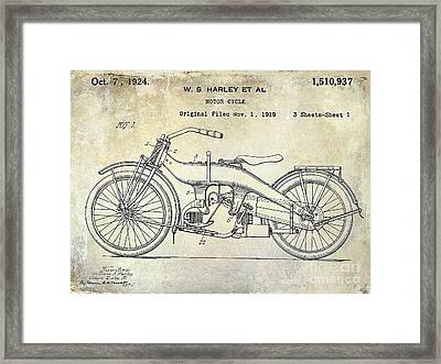 1924 Harley Davidson Motorcycle Patent  Framed Print by Jon Neidert
