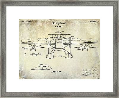 1927 Airplane Patent Drawing Framed Print by Jon Neidert