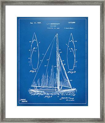 1927 Sailboat Patent Artwork - Blueprint Framed Print by Nikki Marie Smith