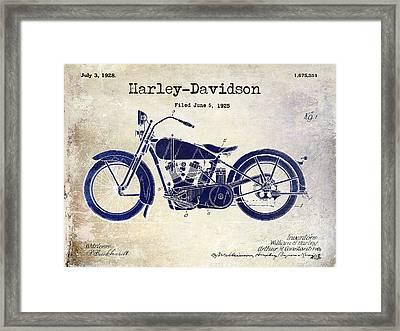 1928 Harley Davidson Patent Drawing 2 Tone Blue Framed Print by Jon Neidert