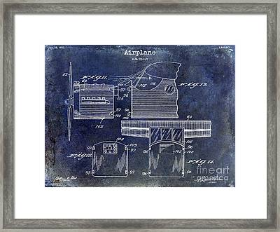 1932 Airplane Patent Drawing Blue Framed Print