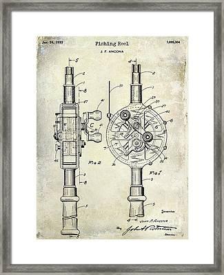 1933 Fishing Reel Patent Drawing Framed Print