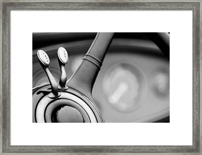 1931 Lincoln K Steering Wheel - Spark - Gas Controls  -1858bw Framed Print by Jill Reger