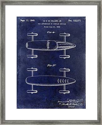 1940 Toy Car Patent Drawing Blue Framed Print by Jon Neidert