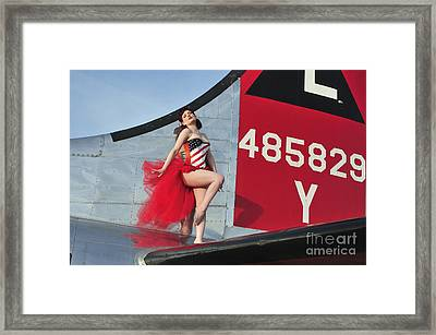 1940s Style Pin-up Girl Standing Framed Print by Christian Kieffer