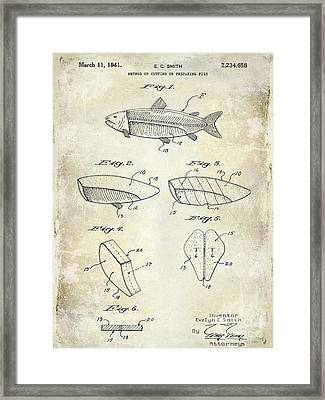 1941 Fish Cleaning Patent Patent Drawing Blue Framed Print by Jon Neidert