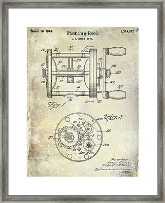 1943 Fishing Reel Patent Drawing Framed Print