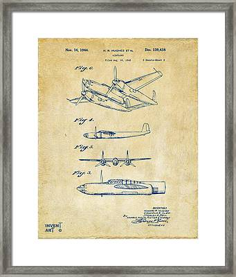 1944 Howard Hughes Airplane Patent Artwork 2 Red Framed Print