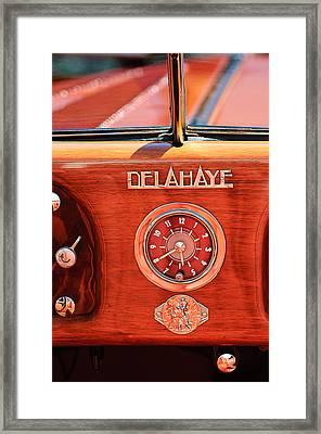 1949 Delahaye 175 S Cabriolet Dandy Dash Board Emblem - Clock Framed Print