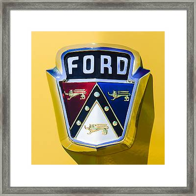 1950 Ford Custom Deluxe Station Wagon Emblem Framed Print by Jill Reger