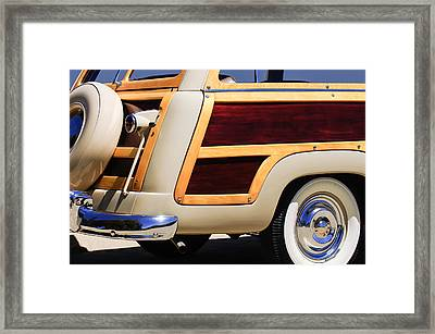 1950 Ford Custom Deluxe Station Wagon Rear End - Woodie Framed Print by Jill Reger