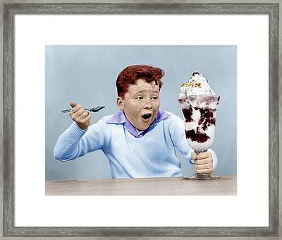 1950s Freckle Face Boy Digging Framed Print