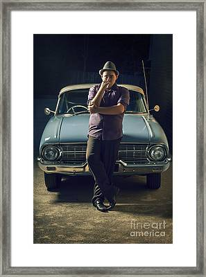 1950s Private Eye Investigator With Smoke On Car Framed Print by Jorgo Photography - Wall Art Gallery