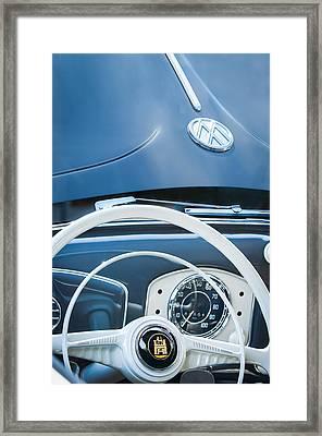 1951 Volkswagen Vw Beetle Cabriolet Steering Wheel Emblem - Hood Emblem Framed Print by Jill Reger