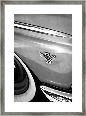 1955 Ford Customline V8 Side Emblem Framed Print by Jill Reger