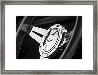1956 Chevrolet 210 2-door Handyman Wagon Steering Wheel Emblem Framed Print by Jill Reger
